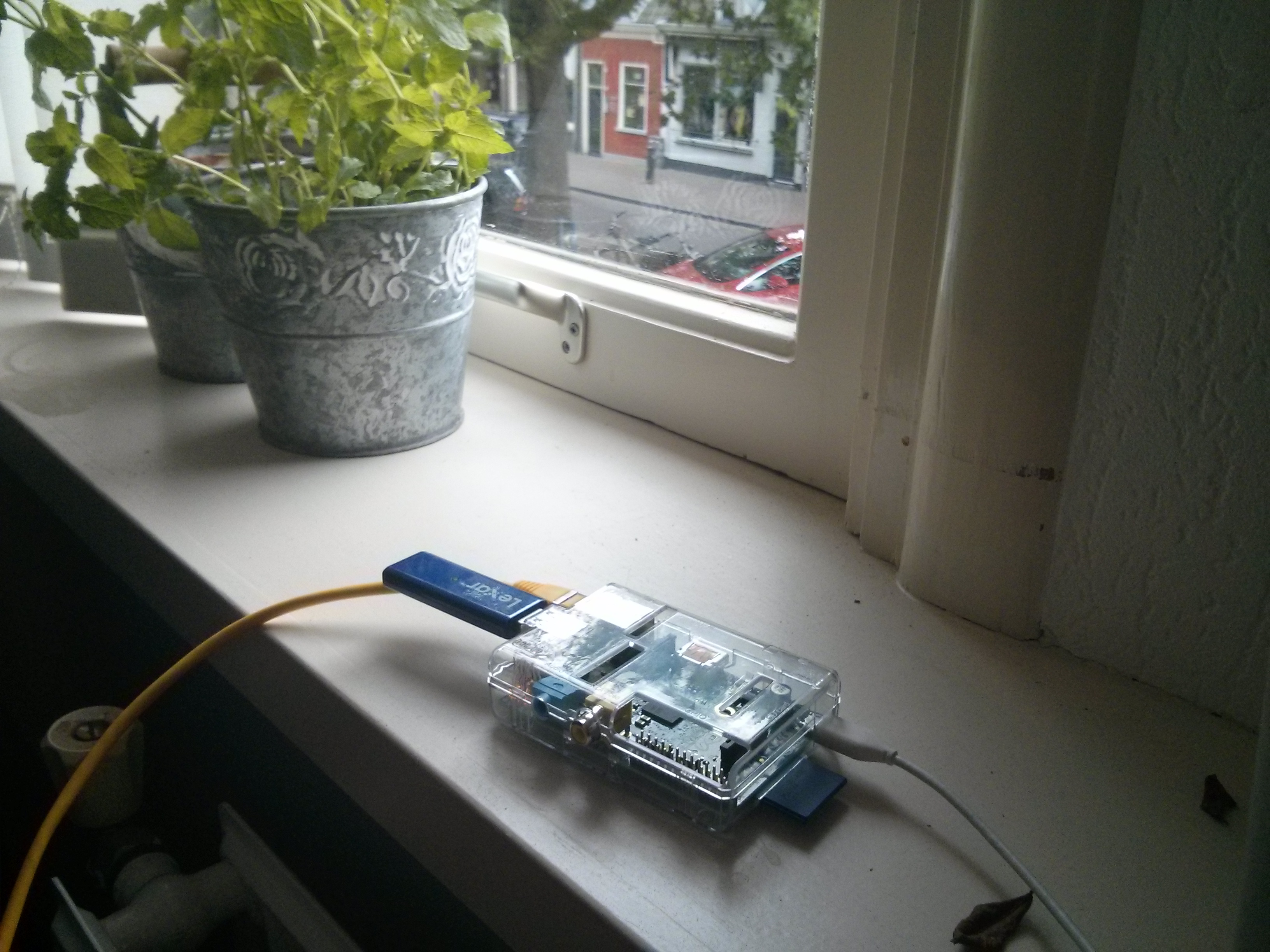 The mint plant in the background goes hand in hand with the RPi's green nature at only 3.5W input!